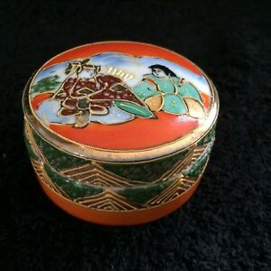Early Japanese Porcelain Trinket Box Hand Painted Satsuma Geisha Immortal Deity