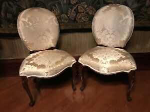Pair Of Antique French Side Chairs Upholstered In Scalamandre Silk Damask Fabric
