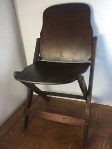 Vintage 40s Us American Seating Co Wooden Folding Chair Grand Rapids Michigan