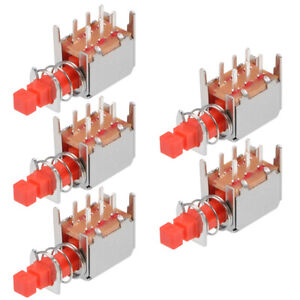 Push Button Switch Dpdt 6 Pin 1 Position Self locking Red 5pcs