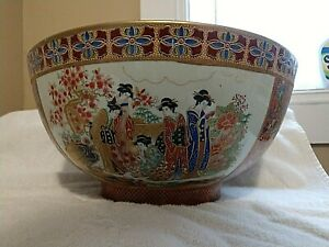 Antique Mandarin Style Rose Medallion Chinese Export Punch Bowl C 1840 1849