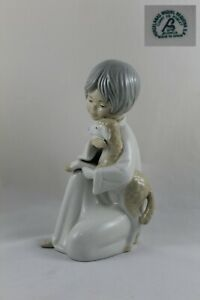 Figure Porcelain Girl With Sheep Brand Miquel Requena Valencia 9 1 8in Height