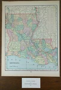 Vintage 1901 Louisiana Map 11x14 Old Antique Baton Rouge Kenner New Orleans Mapz
