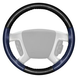 Wheelskins Eurotone Two color Black Steering Wheel Cover W Blue Sides Color