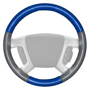 Wheelskins Eurotone Two color Cobalt Steering Wheel Cover W Gray Sides Color