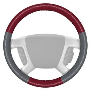 Wheelskins Europerf Perforated Burgundy Steering Wheel Cover W Gray Sides Color