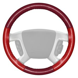 Wheelskins Eurotone Two color Burgundy Steering Wheel Cover W Red Sides Color