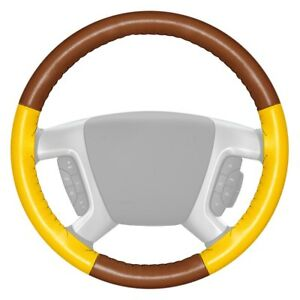 Wheelskins Eurotone Two Color Tan Steering Wheel Cover W Yellow Sides Color
