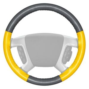 Wheelskins Eurotone Two color Gray Steering Wheel Cover W Yellow Sides Color
