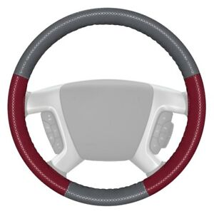 Wheelskins Europerf Perforated Gray Steering Wheel Cover W Burgundy Sides Color