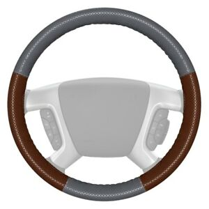 Wheelskins Europerf Perforated Gray Steering Wheel Cover W Brown Sides Color