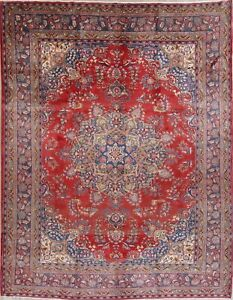 Vintage Traditional Kashmar Persian Oriental Hand Knotted 10x12 Floral Wool Rug