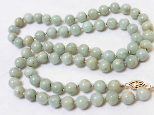 Chinese Vintage Green Jade 8mm Beads Necklace 14kgf Clasp 66 Grams