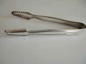 Htf Signed Grasoli Germany Silverplate Tongs Sawtooth Design Ice Sugar 6 L