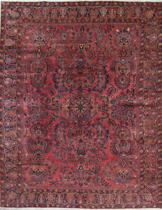 Vegetable Dye Antique Floral Sarouk Mohajeran Persian Hand Knotted 9x11 Area Rug