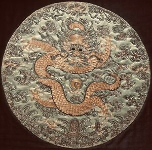 Antique Chinese Embroidered Five Clawed Dragon Robe Roundel Tea Tray Qing