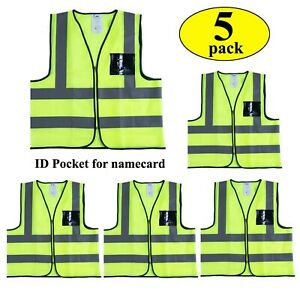 Reflective Safety Vest With Pockets And Zipper 5 Pack construction Vest W New