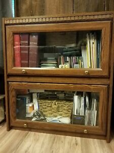 Lawyers Two Shelf Bookcase With Glass Gliding Doors