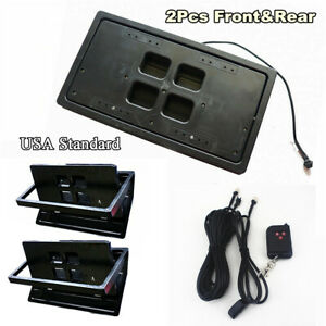 2 Sets Usa Car Hide away Shutter Cover Up Electric Stealth License Plate Frame