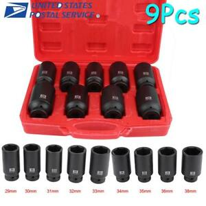 Deep Impact Socket Tool 9 Pcs Set 1 2 Drive Metric Axle Hub Nut Socket 29 38mm