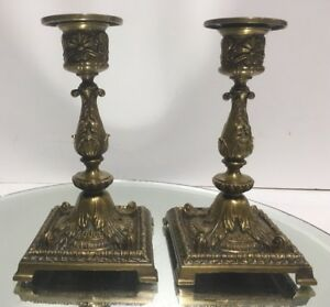 Pair Of Antique 19th C French Ornate Empire Leaf Bronze Candlestick