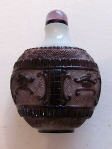 Vintage Peking Glass Snuff Bottle Carved Amethyst Overlay With Original Stopper