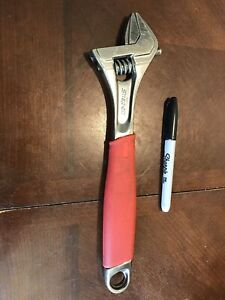 Snap On Tool 12 Long Adjustable Crescent Wrench Chrome Fadh12a Red Grip Flank Dr