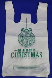 Merry Christmas Green Ball Holiday Plastic T shirt Shopping Bags 11 25x6x21