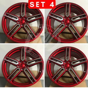 Brand New 20 X 10 Red Rs Style Rims Wheels Offset 35 5x114 3 set Of 4