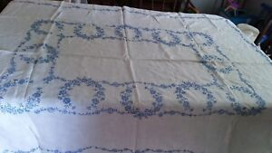 Vintage Hand Embroidered Linen Tablecloth Exquisite Flower Stunning Work 58 X 72
