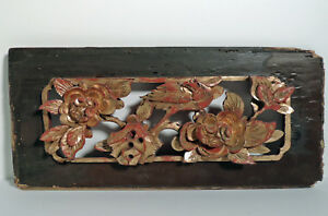 Antique Chinese Wall Plaque Hand Carved Wood Bird And Flowers