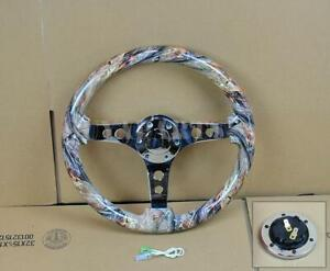 350mm 14 Camo Wood Mirror Chrome Staineless Steel Spoke Steering Wheel