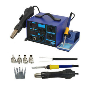 862d 2in1 Smd Soldering Iron Hot Air Gun Rework Station Desoldering Repair 110v