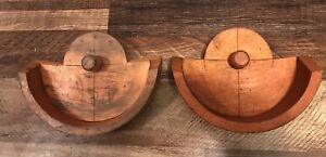 Antique Machine Age Industrial Wood Foundry Mold Pattern Set Of Two Steampunk