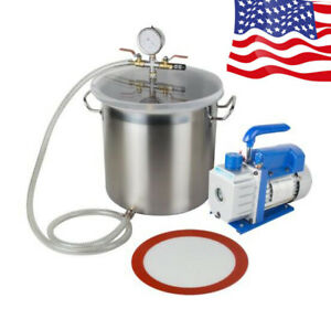 Safety 5gallon Stainless Steel Vacuum Degassing Chamber 3cfm Single Stage Pump