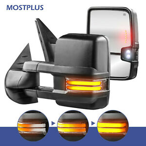 2x Power Heated Tow Mirrors W Sequential Turn Signal For 07 14 Chevy Silverado