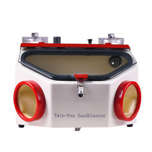 Dental Twin Double Pen Sand Blaster Sandblaster Unit W Led Bulb Blasting gift