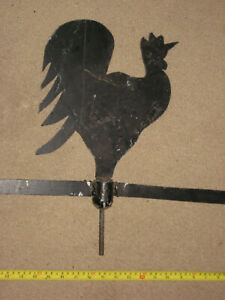 Antique Vintage Iron Folk Art Rooster Weathervane Weather Vane Pointed Arrow