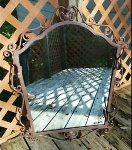 Vintage Wrought Iron Mirror Ornate Shabby Chic Coat Hat Rack Entryway Hall