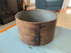 Antique A Neal Pantry Box Grain Measure Blue Paint Wooden Rustic Primitive