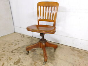 Antique Industrial Office Rolling Desk Clerk Chair Tilt Swivel Height Adjustable