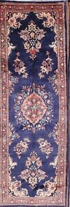 One Of A Kind Traditional Floral Midnight Blue Sarouk Persian Runner Rug 4 X11