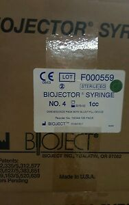 Lot Of 2 Boxes Of Bioject Syringes 100 Per Box 1cc Number 4 Biojector 2000