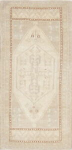 One Of A Kind Vintage Muted Beige Oushak Turkish Hand Knotted 2 X4 Wool Rug