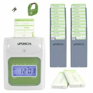 Upunch Hn3000 Time Clock Bundle With 100 Cards And Two 10 Slot Card Racks