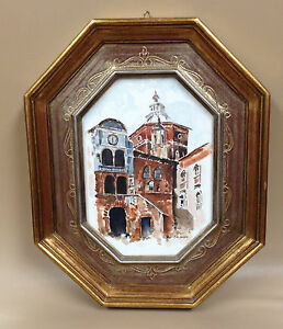Authentic Italian Picture Frame With Old Style Print Small Hexagonal