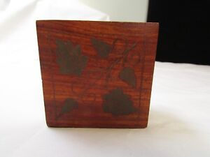 Small Wood Box With Leaves And Branch Inlay 3 X 3 X 1 3 4 Made In India