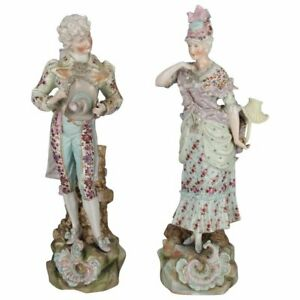 2 Large And Antique German Dresden School Hand Painted Gilt Porcelain Figures