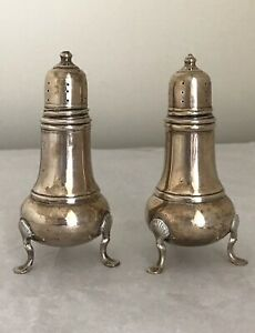 Antique Sterling Silver Salt Pepper Shakers Footed