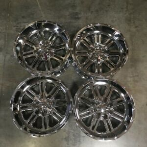Used 20x10 Truck Fit Lifted Chevy Ford 6x135 6x5 5 24 Chrome Wheels Set 4